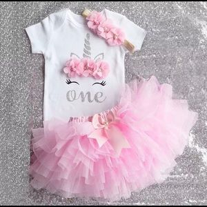Other - NEW Unicorn Pink Birthday Tutu Set